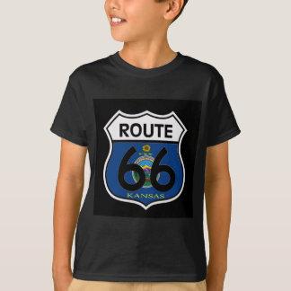 Kansas Flag Route 66 Shield T-Shirt