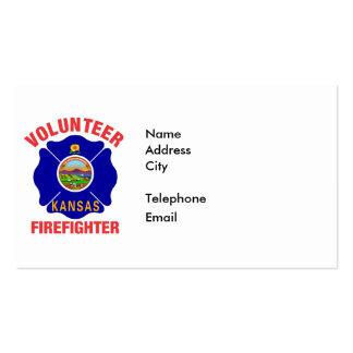 Kansas Flag Volunteer Firefighter Cross Double-Sided Standard Business Cards (Pack Of 100)