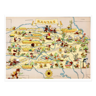Kansas Funny Vintage Map Postcard