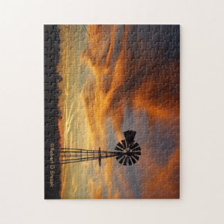 Kansas Golden Sky with a Windmill Silhouette Jigsaw Puzzle