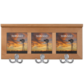 Kansas Golden Sunset Reflection Coat Rack