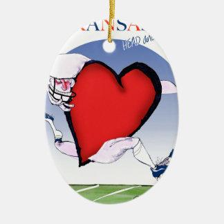 kansas head heart, tony fernandes christmas ornament