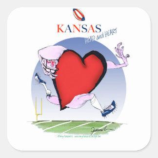 kansas head heart, tony fernandes square sticker