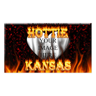 Kansas Hottie fire and red marble heart. Pack Of Standard Business Cards