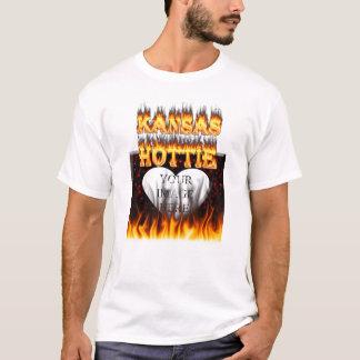 Kansas Hottie fire and red marble heart. T-Shirt