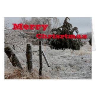 Kansas Icy Fence Christmas Greeting Card