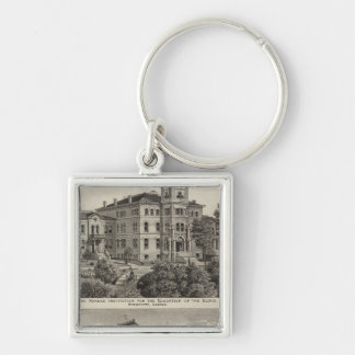 Kansas Institute for Education of the Blind Silver-Colored Square Key Ring