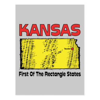 Kansas KS Motto ~ First OF The Rectangle States Postcard
