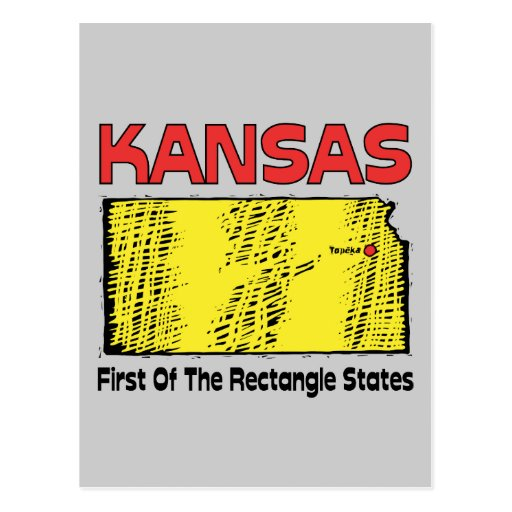 Kansas KS Motto ~ First OF The Rectangle States Post Cards