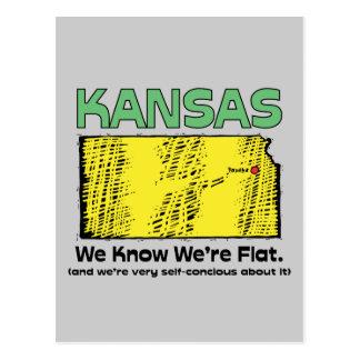 Kansas KS Motto We Know We re Flat Postcard