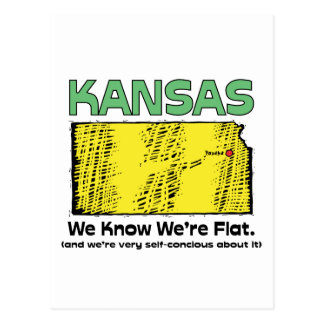 Kansas KS Motto ~ We Know We're Flat Postcard