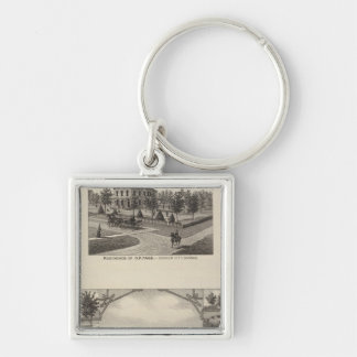 Kansas Live Stock County in Cawker City Silver-Colored Square Key Ring