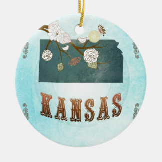 Kansas Map With Lovely Birds Christmas Ornament