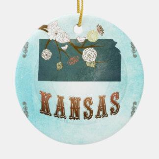 Kansas Map With Lovely Birds Christmas Ornament