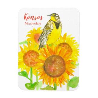 Kansas Meadowlark Watercolor Sunflowers Magnet