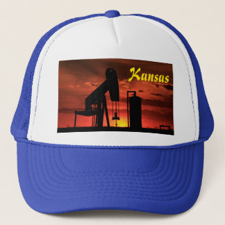 Kansas Oil Well Pump Sunset/Silhouette Hat
