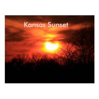Kansas Orange Sunset Post Card