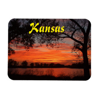 Kansas  Orange Sunset/Reflection Square Magnet