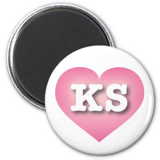 Kansas Pink Fade Heart - Big Love 6 Cm Round Magnet