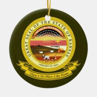 Kansas Seal Round Ceramic Decoration