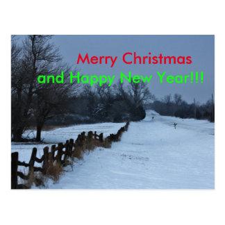 Kansas Snowy Fence Line CHRISTMAS POST CARD