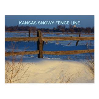 Kansas Snowy Fence Line  Post Card