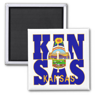 Kansas state flag text magnet