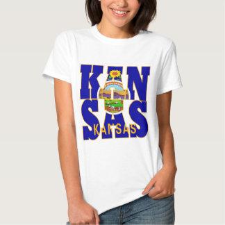 Kansas state flag text t shirts