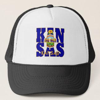 Kansas state flag text trucker hat