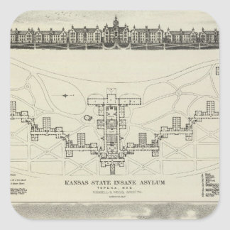 Kansas State Insane Asylums Square Sticker