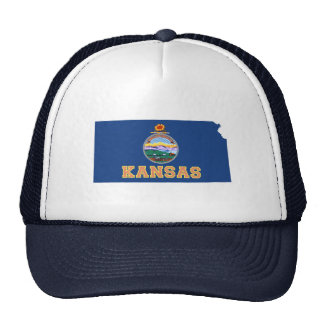 Kansas State Map and Flag Trucker Hats