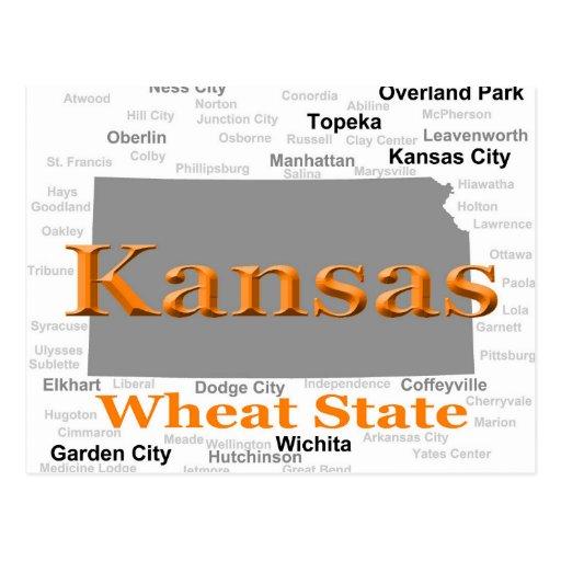 Kansas State Pride Map Post Card