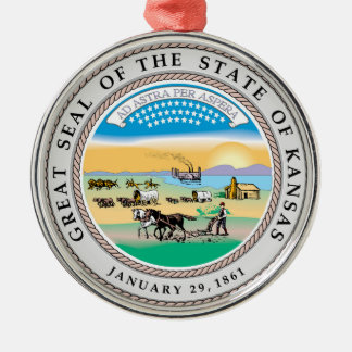 Kansas state seal america republic symbol flag Silver-Colored round decoration