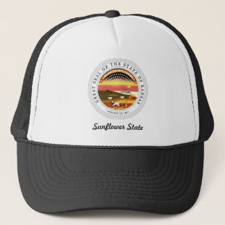 Kansas State Seal and Motto Trucker Hat