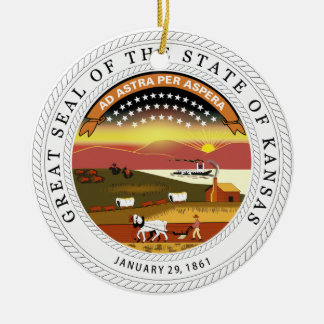 Kansas State Seal Round Ceramic Decoration