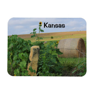 Kansas Stone Post with Sunflowers Square Magnet