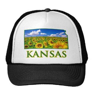 Kansas Sunflower Sky Trucker Hats