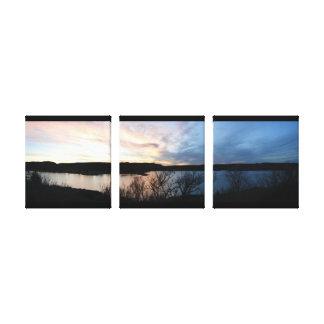 Kansas Sunset at Scott Lake Wrapped Canvas