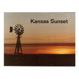 Kansas sunset postcard