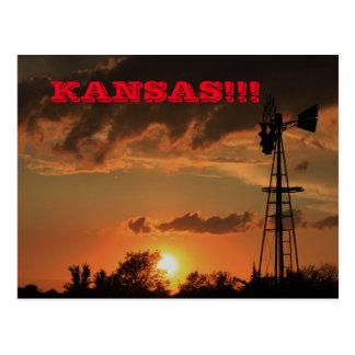 Kansas Sunset with a Windmill Post Card