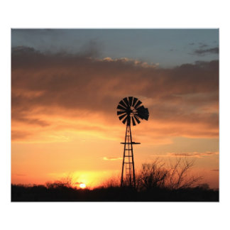 Kansas Sunset with orange sky and Windmill Photo Print