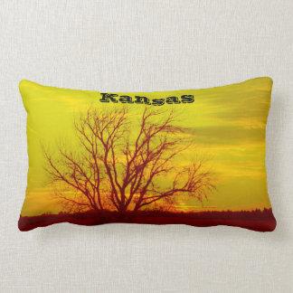 Kansas Sunsets,Windmill and a Tree Square Pillow. Lumbar Cushion