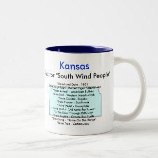 Kansas Symbols & Map Two-Tone Coffee Mug