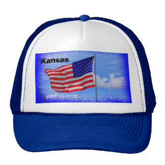 Kansas US Flag Truckers Hat