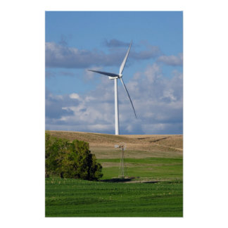 Kansas Windmill and Wind Turbine Poster
