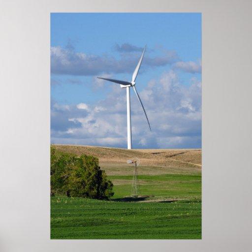 Kansas Windmill and Wind Turbine Poster