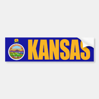 Kansas with State Flag Bumper Sticker