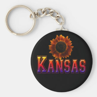 Kansas with Sunflower Basic Round Button Key Ring