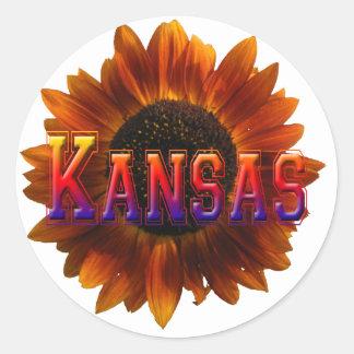 Kansas with Sunflower Round Sticker