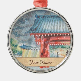 Kanshin-Ji Temple Tokuriki Tomikichiro Japan art Silver-Colored Round Decoration